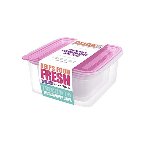 Bộ hộp đựng thực phẩm hình chữ nhật 300ml + 650ml + 1100ml JCJ - 31328