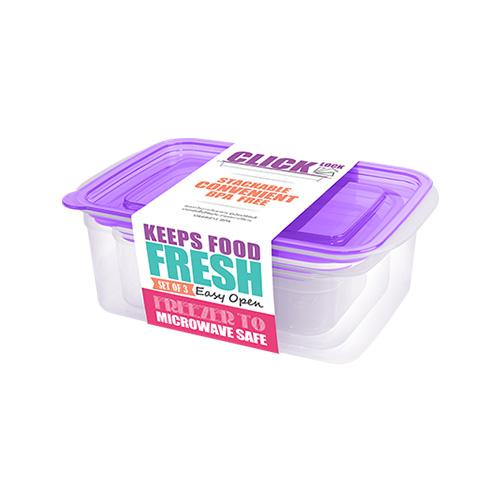 Bộ hộp đựng thực phẩm hình chữ nhật 300ml + 600ml + 1050ml  JCJ - 31329